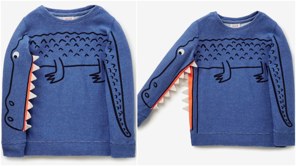 A Clever Kids Sweater With a Crocodile That Opens Its Jaws Whenever the Right Arm Is Raised