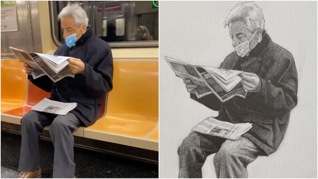 Artist Creates Realistic Portraits of New York City Subway Riders That He Then Gives to Them
