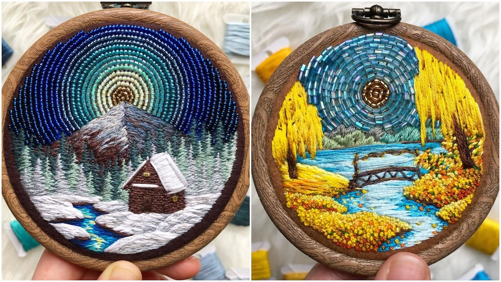 Beautiful Nature Vignettes in Beaded Embroidery