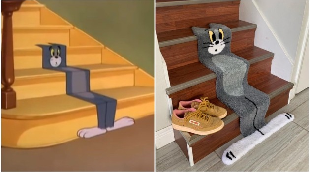 Flat Tom Cat Rug and Cartoon