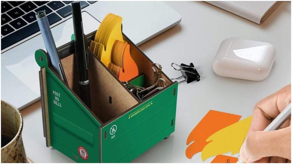 Fred Cardboard Desktop Dumpster Fire