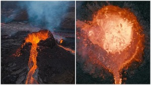 Melted Drone Iceland Volcano