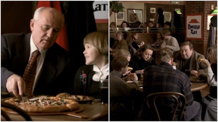 Mikhail Gorbachev and Granddaughter Pizza Hut