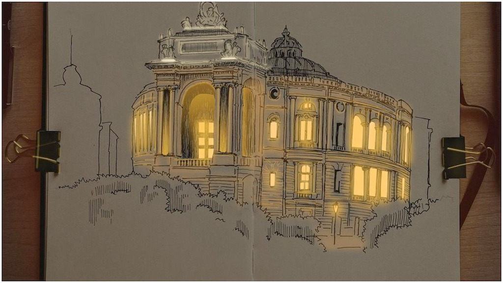 Beautifully Detailed Urban Architectural Sketches of Buildings and Homes With Lighted Windows