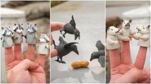 Crows Raccoon Possum Finger Puppets Archie McPhee