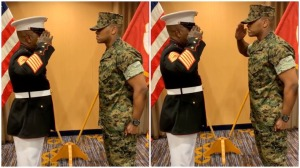 Father Gives Son His First Salute USMC