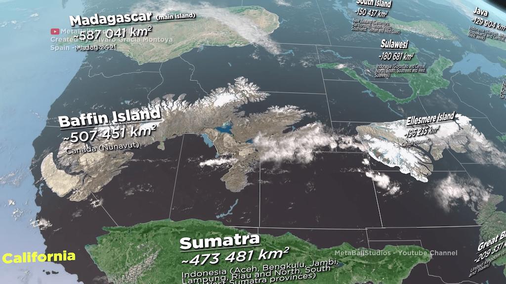 Islands Compared to North America