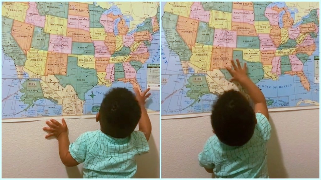 Clever Toddler Correctly Locates US States on Map - laughing squid