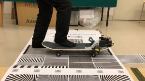Barcode Boarding Scanner Attached to Skateboard Barcode