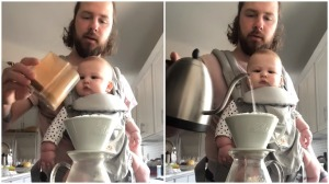 Dad Teaches Baby How to Make Coffee