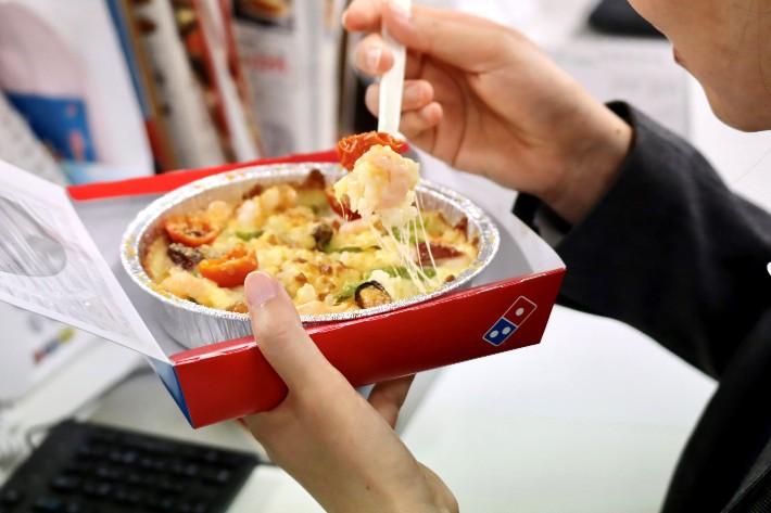 Domino Japan Pizza Rice Bowl Eating