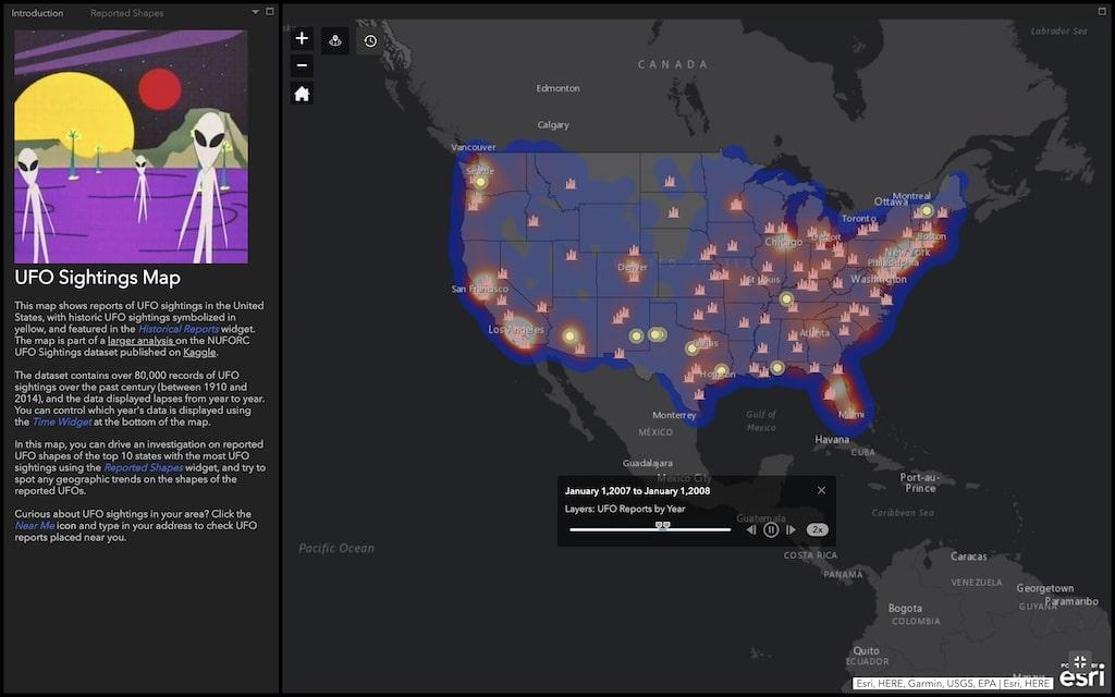 Historic UFO Sightings Map US