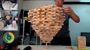 World Record 1512 Jenga Blocks on Single Block