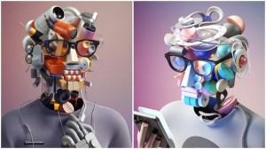 Futuristic Self Portraits 3D Animation
