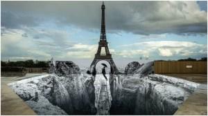 JR Eiffel Tower Illusion Mural
