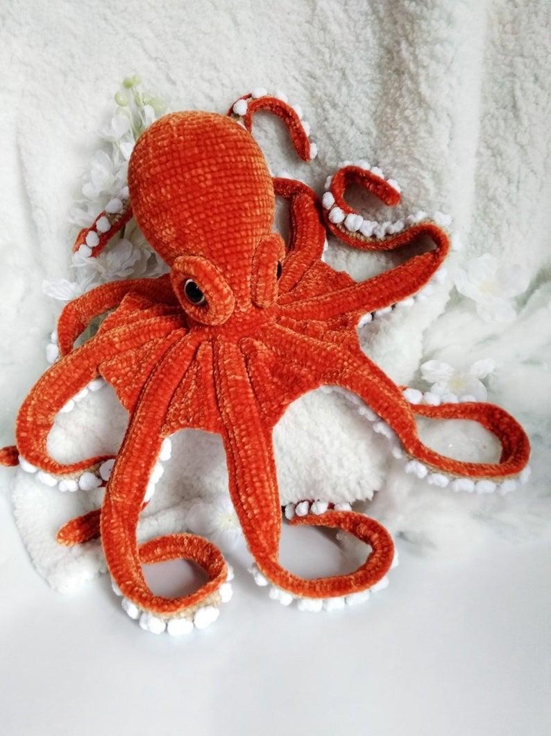 Plush Crocheted Octopuses Burnt Orange