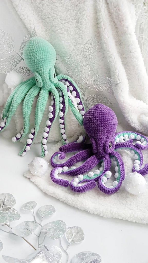 Plush Crocheted Octopuses Purple and Green