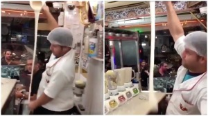 Smoothie Maker Tosses Liquid Over Head Into Waiting Cup
