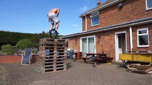 Unicyclist Jumps 10 Pallets 5 Feet High