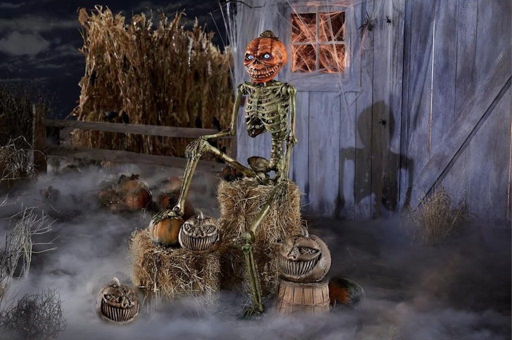 12 ft Giant Inferno Pumpkin Skeleton with LCD Eyes Seated