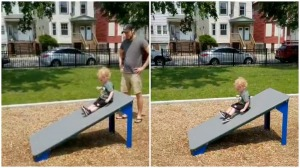 Little Boy Mistakes Obstacle Course Ramp for Slide