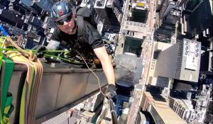 Master Rigger Carries Out Maintenance on Top of Chrysler Building