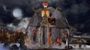 Posable 12 Ft Pumpkin Skeleton With LED Eyes