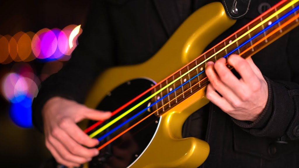 Mad World on Bass Guitar Brightly Colored Strings