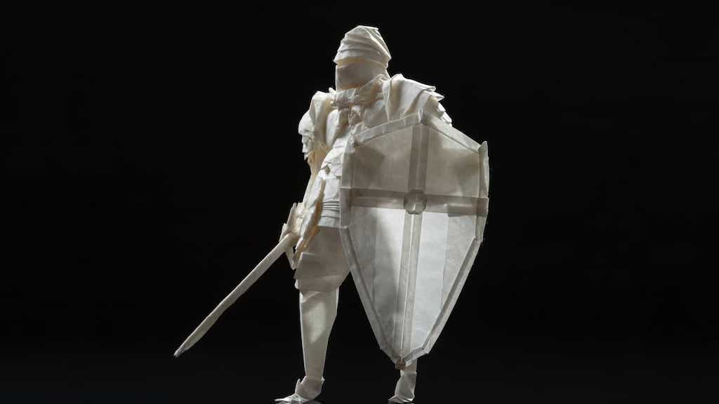 Folding origami knight from a single sheet of paper