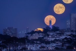 Full Moon Over Coit Tower in San Francisco