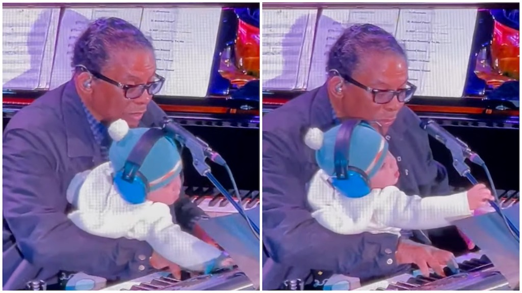Herbie Hancock Sings 'Happy Birthday' to Wife Gigi at a Concert While His Baby Grandson Pushes Buttons - laughing squid