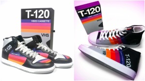 Leather and Canvas Sneakers T120 VHS Tape Design