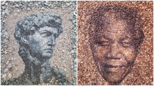 Mosaic Portraits Made Out of Found Stones