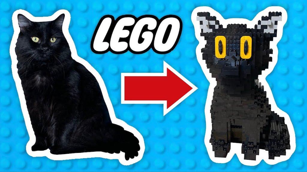 Man Turns Cat into LEGO Sculpture