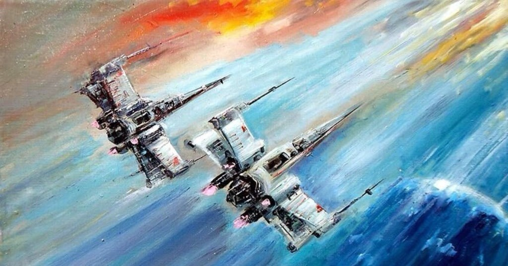 Abstract Oil Paintings Featuring 'Star Wars' Scenes - laughing squid