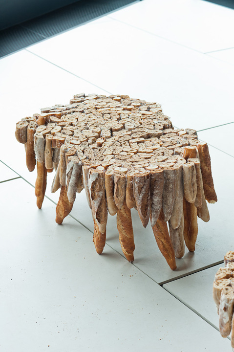 Baguette Tables, Made From Long Stale Pieces of Bread