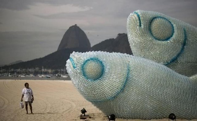 Giant fish sculptures made of plastic bottles