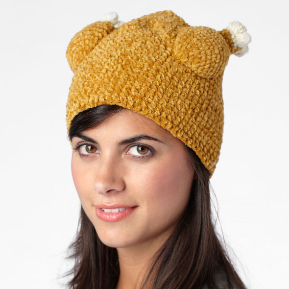 Woman in a knit turkey hat