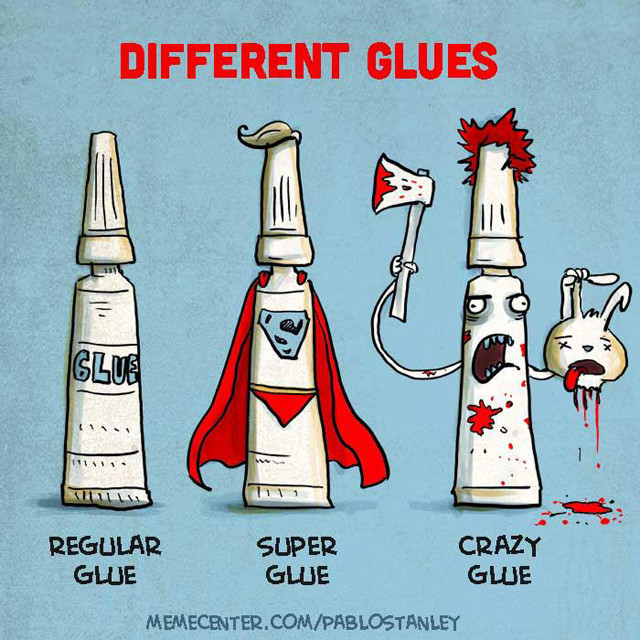 Different kind of glues by Pablo Stanley