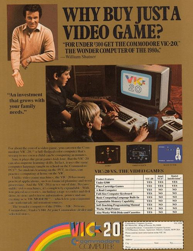 1980s Commodore VIC-20 Computer Ads Featuring William Shatner