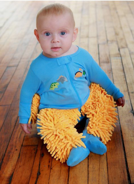 baby mops  footed pajamas made so babies can clean floors