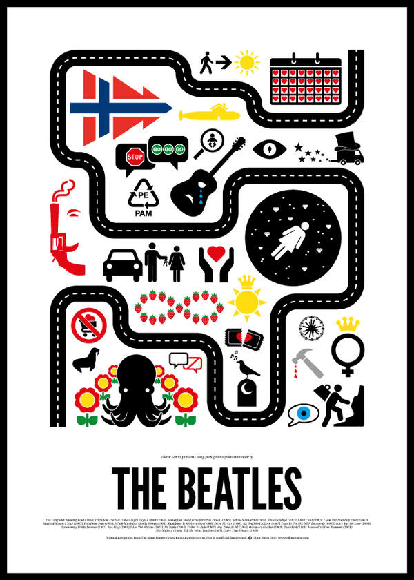 Pictographic rock band posters by Viktor Hertz