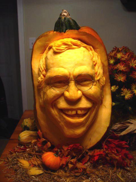 Realistic d pumpkin carvings by food sculptor ray villafane