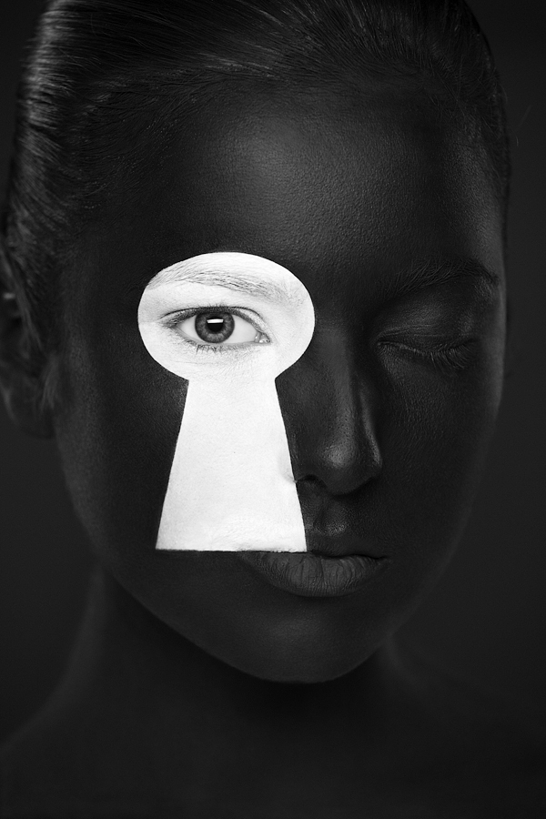 weird beauty photos of faces painted in bold black