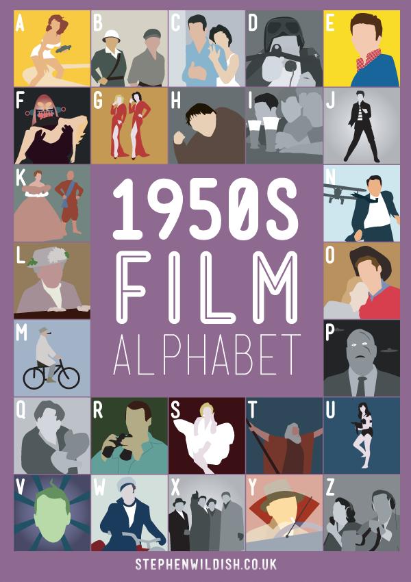 1950s film alphabet poster that quizzes your 1950 s movie knowledge. Black Bedroom Furniture Sets. Home Design Ideas