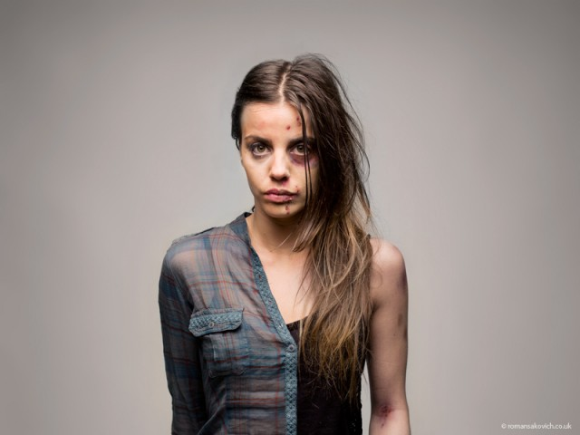 Half before and after portraits of drug abuse by Roman Sakovich