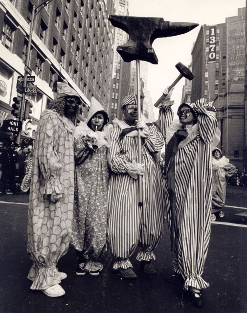 A cluster of  clowns in Macy's Thanksgiving Day parade 1966