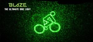 Blaze bike light projects warning symbol