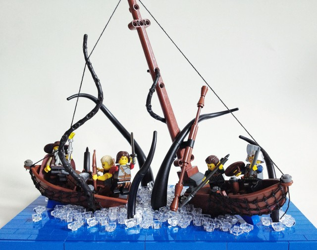 LEGO giant squid attack by Sam Malmberg