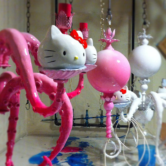 Hello Kitty Chandelier WIP by Adam Wallacavage